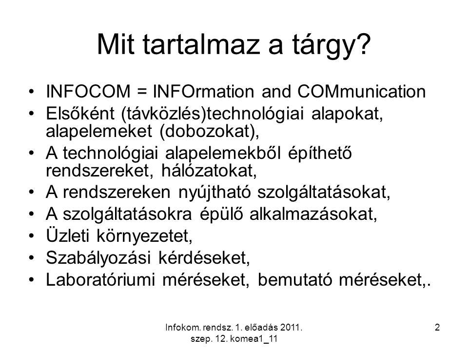 Infokom. rendsz. 1. előadás 2011. szep. 12. komea1_11 2 Mit tartalmaz a tárgy? INFOCOM = INFOrmation and COMmunication Elsőként (távközlés)technológia
