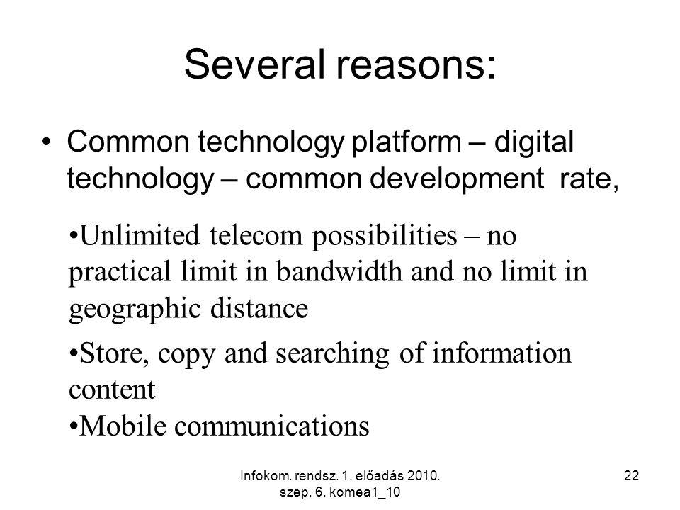 Infokom. rendsz. 1. előadás 2010. szep. 6. komea1_10 22 Several reasons: Common technology platform – digital technology – common development rate, Un