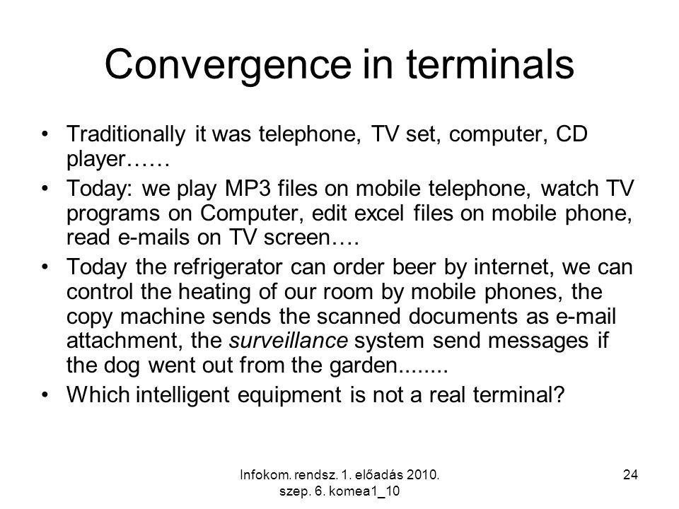 Infokom. rendsz. 1. előadás 2010. szep. 6. komea1_10 24 Convergence in terminals Traditionally it was telephone, TV set, computer, CD player…… Today: