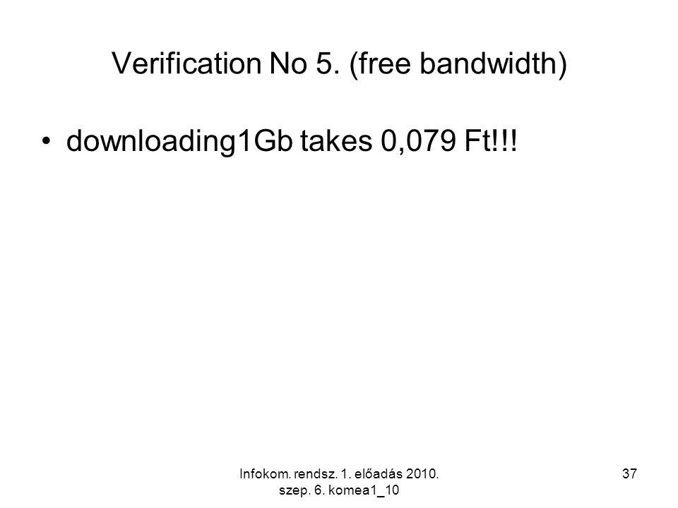 Infokom. rendsz. 1. előadás 2010. szep. 6. komea1_10 37 Verification No 5. (free bandwidth) downloading1Gb takes 0,079 Ft!!!