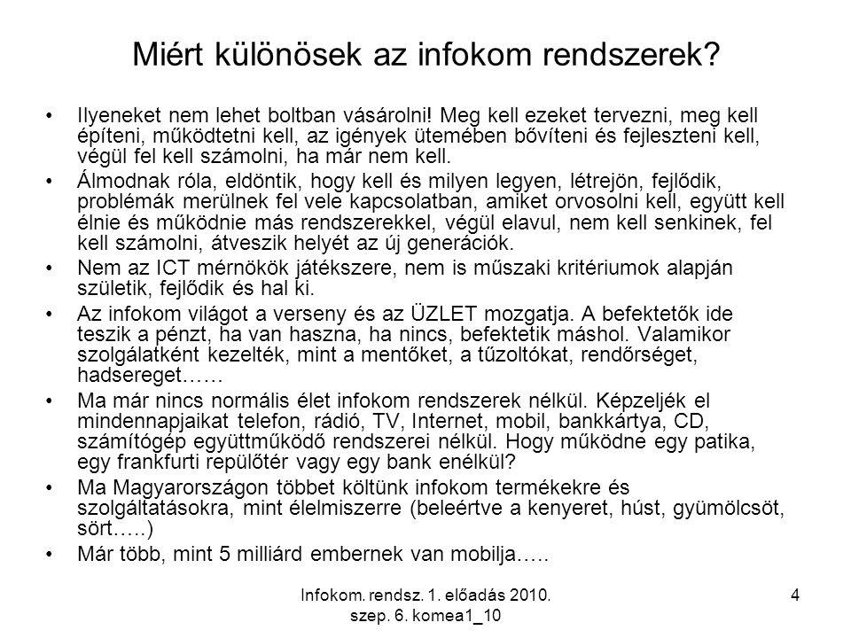 Infokom. rendsz. 1. előadás 2010. szep. 6. komea1_10 4 Miért különösek az infokom rendszerek? Ilyeneket nem lehet boltban vásárolni! Meg kell ezeket t