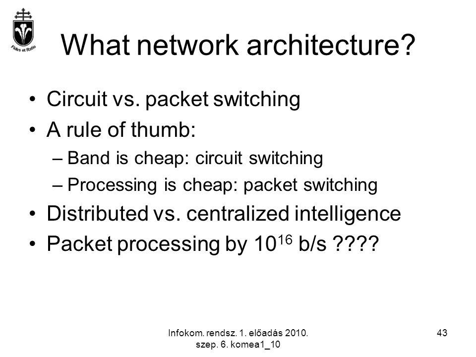 Infokom. rendsz. 1. előadás 2010. szep. 6. komea1_10 43 What network architecture? Circuit vs. packet switching A rule of thumb: –Band is cheap: circu
