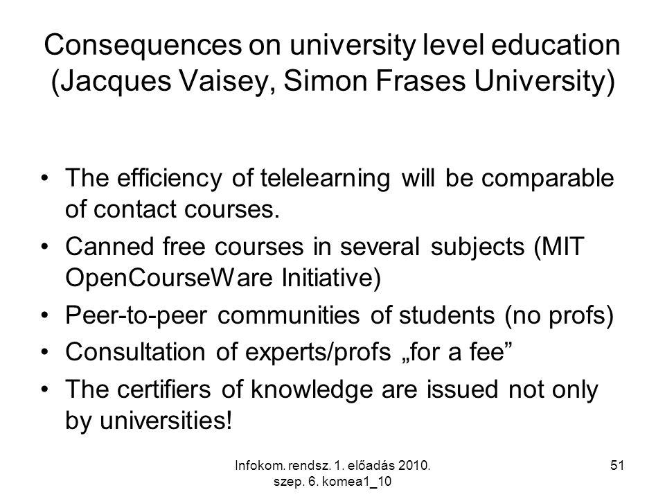 Infokom. rendsz. 1. előadás 2010. szep. 6. komea1_10 51 Consequences on university level education (Jacques Vaisey, Simon Frases University) The effic
