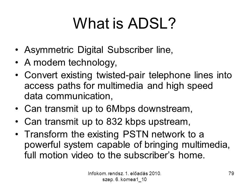 Infokom. rendsz. 1. előadás 2010. szep. 6. komea1_10 79 What is ADSL? Asymmetric Digital Subscriber line, A modem technology, Convert existing twisted