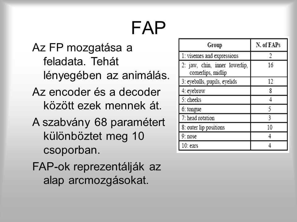 Az MPEG-4 84 FP-t határoz meg a természetes arc leírásához. Egy MPEG-4 kompatibilis modellhez az FP- k helyzetének pontos ismerete szükséges Az FP-ket