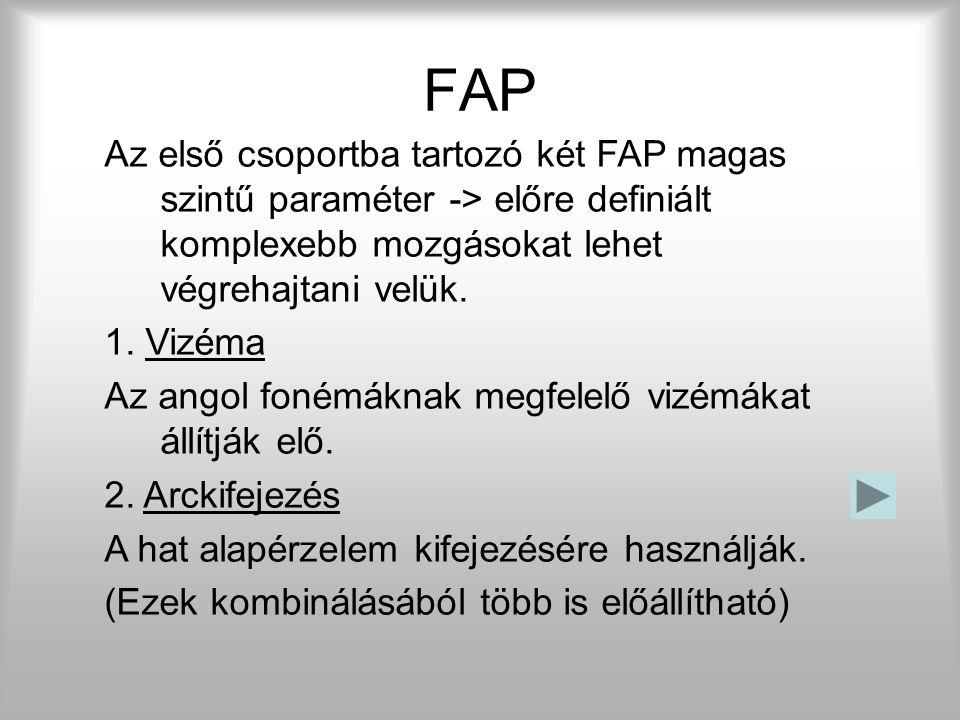FAP Az FP mozgatása a feladata. Tehát lényegében az animálás. Az encoder és a decoder között ezek mennek át. A szabvány 68 paramétert különböztet meg