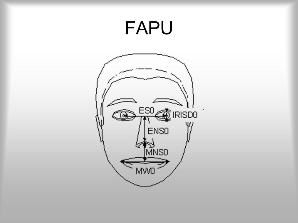 FAP A mozgatás során a kívánt FAP-oknak megfeleltetünk egy-egy értéket. Pl.: (FAP 17)=100 De mit jelent, hogy 100? -mm? -egység? -pixel? A válasz: hat