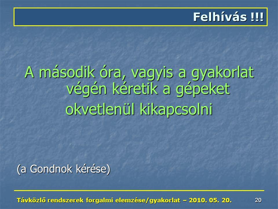 Távközlő rendszerek forgalmi elemzése/gyakorlat – 2010.