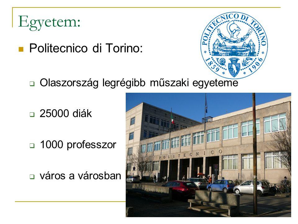 Egyetem: Politecnico di Torino:  Olaszország legrégibb műszaki egyeteme  25000 diák  1000 professzor  város a városban