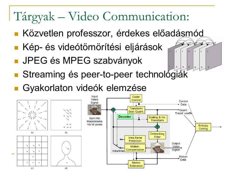 Tárgyak – Video Communication: Közvetlen professzor, érdekes előadásmód Kép- és videótömörítési eljárások JPEG és MPEG szabványok Streaming és peer-to