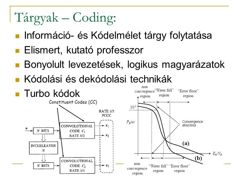 Tárgyak – Coding: Információ- és Kódelmélet tárgy folytatása Elismert, kutató professzor Bonyolult levezetések, logikus magyarázatok Kódolási és dekód