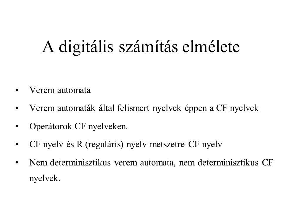 Verem automaták DVA nem alkalmas CF nyelv felismerésére...