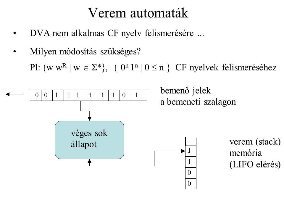 Verem automaták Definíció: Verem automata M = (Q, , , , q 0, F) ahol: 1.Q, egy véges halmaz az állapotok halmaza 2.