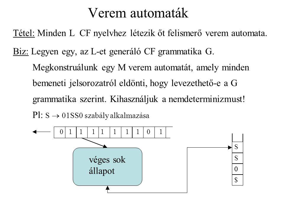 Verem automaták 1.A verembe beírjuk egyszerre a levezetés során a mondatszerű forma még 'hátralévő' részét q és r két állapot, a  -beli, s  -beli jel.