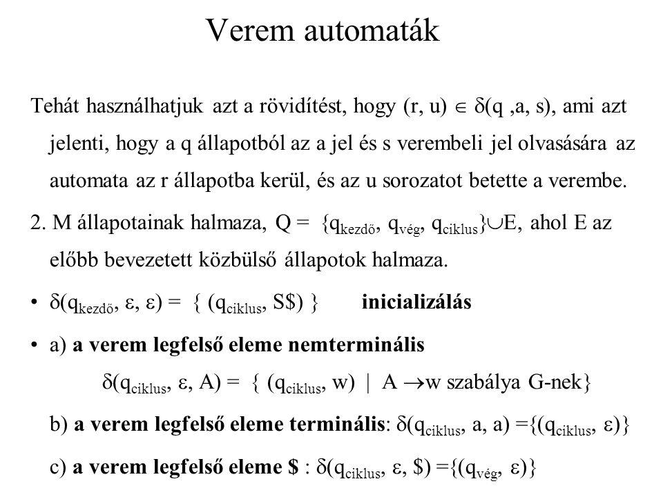 Verem automaták Láttuk, hogy x levezethető A pq -ból csakkor, ha M p állapotából, üres veremmel x-et beolvasva, van állapotátmenetek olyan sorozata, hogy az automata q állapotba kerül, és a verem ismét üres.