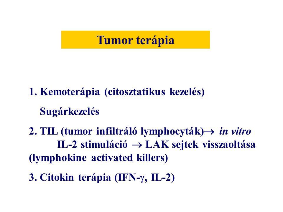1. Kemoterápia (citosztatikus kezelés) Sugárkezelés 2. TIL (tumor infiltráló lymphocyták)  in vitro IL-2 stimuláció  LAK sejtek visszaoltása (lympho