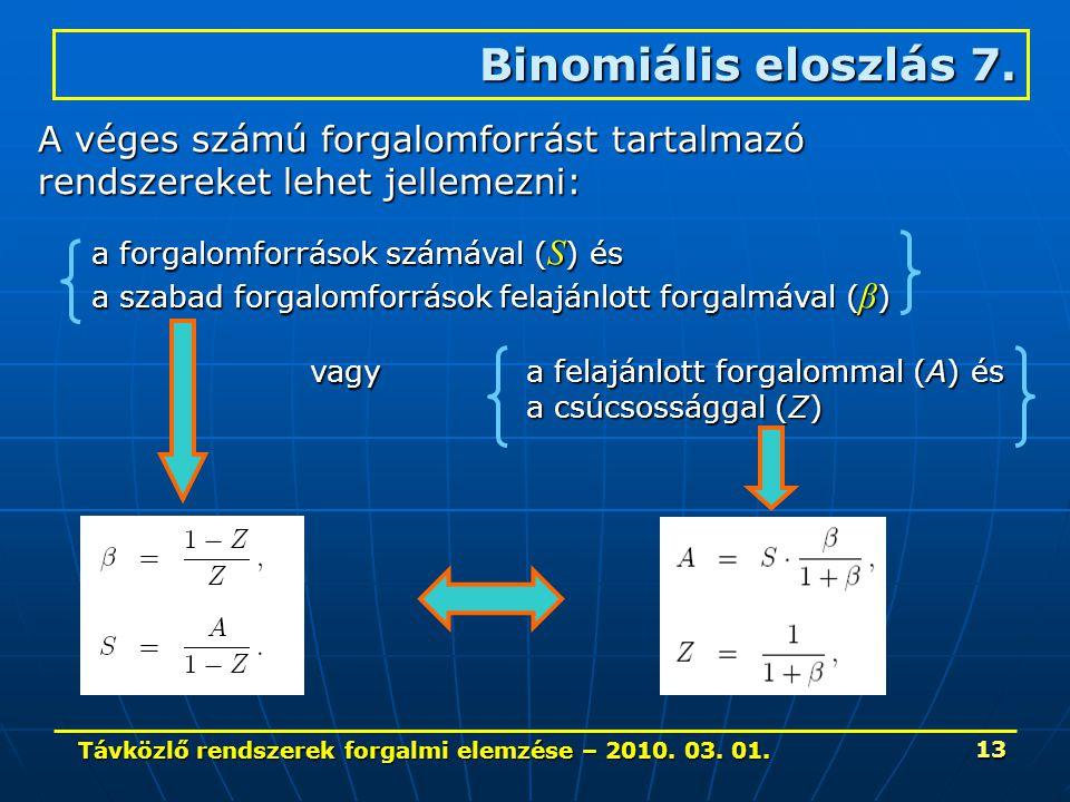 Távközlő rendszerek forgalmi elemzése – 2010. 03. 01. 13 Binomiális eloszlás 7. A véges számú forgalomforrást tartalmazó rendszereket lehet jellemezni