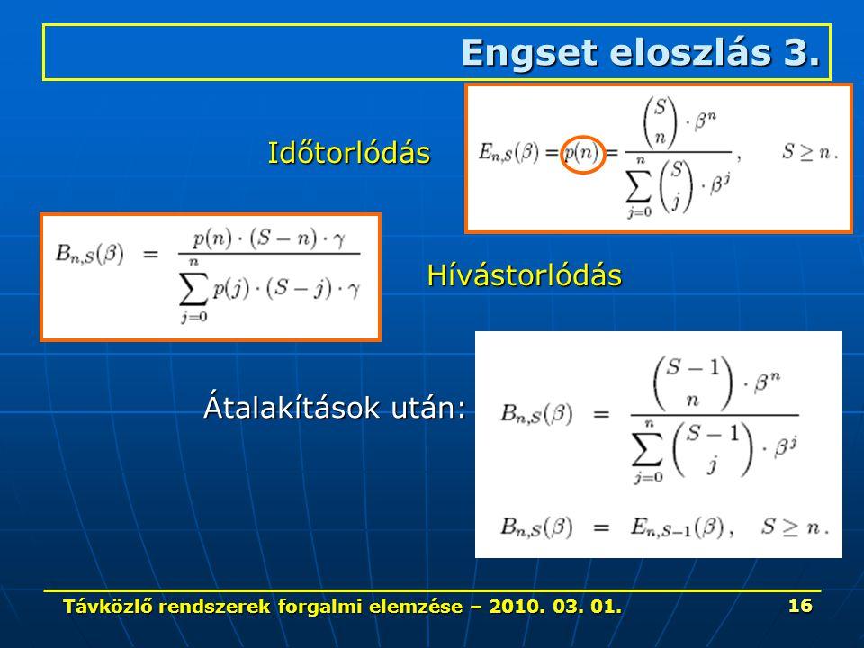 Távközlő rendszerek forgalmi elemzése – 2010. 03. 01. 16 Engset eloszlás 3. Időtorlódás Hívástorlódás Átalakítások után: