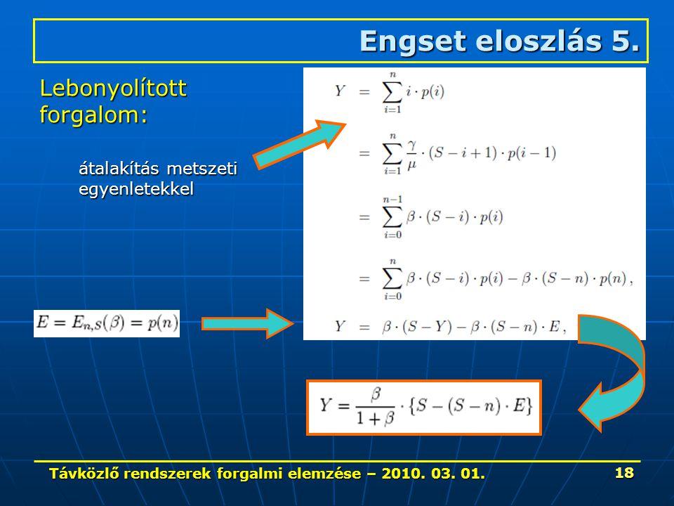 Távközlő rendszerek forgalmi elemzése – 2010. 03. 01. 18 Engset eloszlás 5. Lebonyolítottforgalom: átalakítás metszeti egyenletekkel