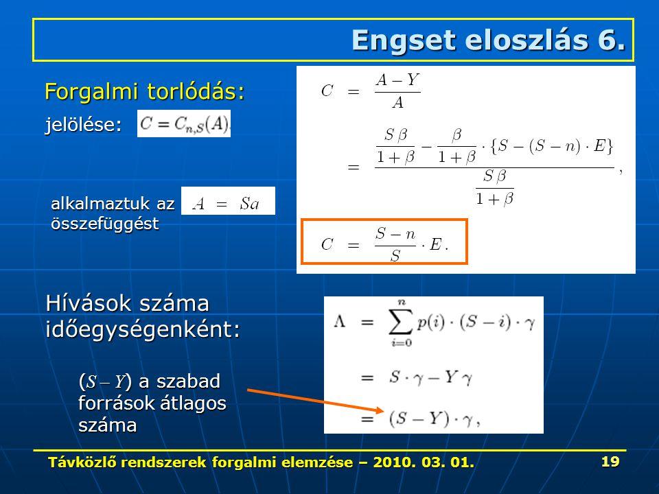 Távközlő rendszerek forgalmi elemzése – 2010. 03. 01. 19 Engset eloszlás 6. Forgalmi torlódás: jelölése: Hívások száma időegységenként: ( S – Y ) a sz