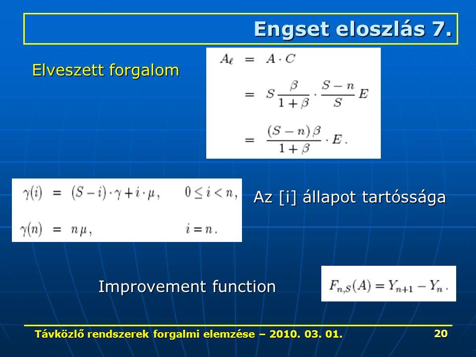 Távközlő rendszerek forgalmi elemzése – 2010. 03. 01. 20 Engset eloszlás 7. Elveszett forgalom Az [i] állapot tartóssága Improvement function