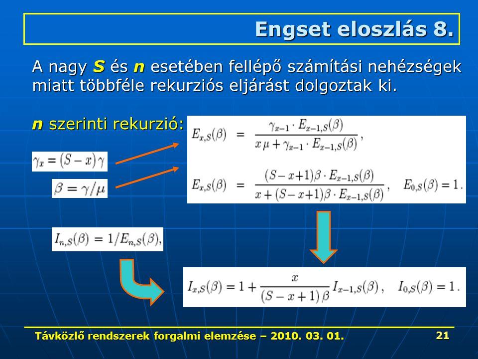 Távközlő rendszerek forgalmi elemzése – 2010. 03. 01. 21 Engset eloszlás 8. A nagy S és n esetében fellépő számítási nehézségek miatt többféle rekurzi