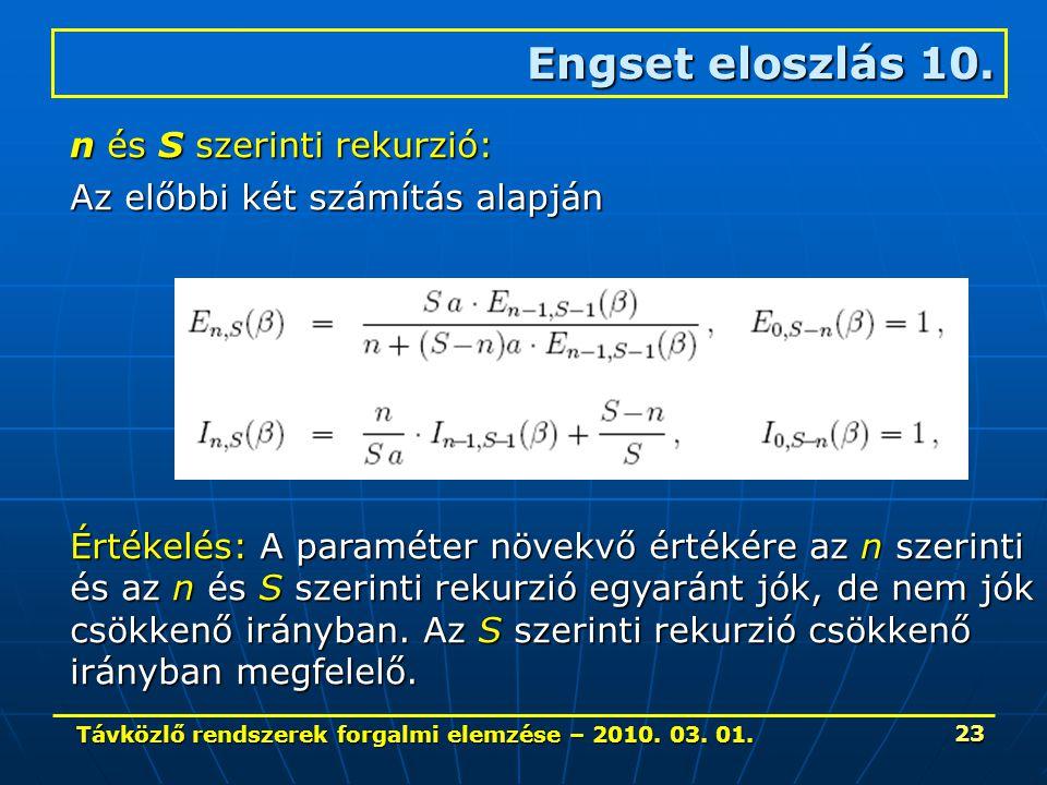 Távközlő rendszerek forgalmi elemzése – 2010. 03. 01. 23 Engset eloszlás 10. n és S szerinti rekurzió: Az előbbi két számítás alapján Értékelés: A par