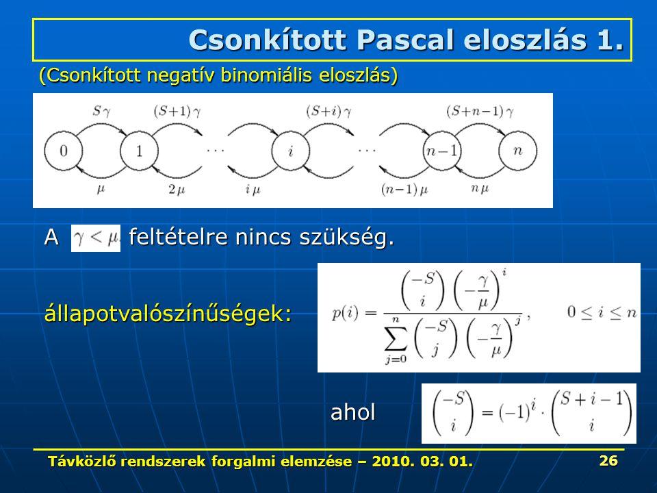 Távközlő rendszerek forgalmi elemzése – 2010. 03. 01. 26 A feltételre nincs szükség. Csonkított Pascal eloszlás 1. állapotvalószínűségek: (Csonkított