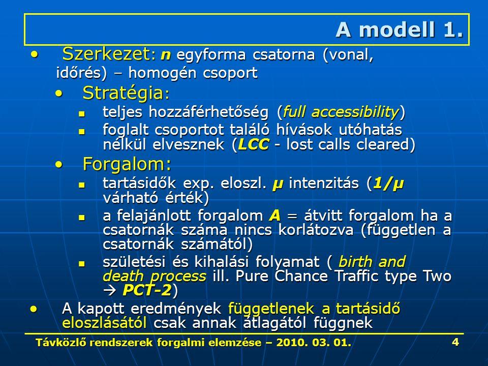 Távközlő rendszerek forgalmi elemzése – 2010. 03. 01. 4 Szerkezet : n egyforma csatorna (vonal,Szerkezet : n egyforma csatorna (vonal, időrés) – homog