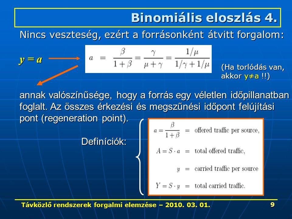 Távközlő rendszerek forgalmi elemzése – 2010. 03. 01. 9 Binomiális eloszlás 4. Nincs veszteség, ezért a forrásonként átvitt forgalom: y = a annak való