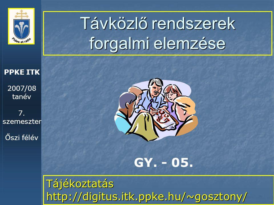 PPKE ITK 2007/08 tanév 7. szemeszter Őszi félév Távközlő rendszerek forgalmi elemzése Tájékoztatás http://digitus.itk.ppke.hu/~gosztony/ GY. - 05.
