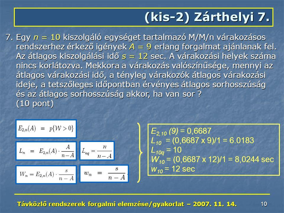 Távközlő rendszerek forgalmi elemzése/gyakorlat – 2007. 11. 14. 10 (kis-2) Zárthelyi 7. 7.Egy n = 10 kiszolgáló egységet tartalmazó M/M/n várakozásos