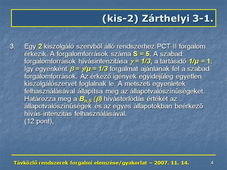 Távközlő rendszerek forgalmi elemzése/gyakorlat – 2007. 11. 14. 4 (kis-2) Zárthelyi 3-1. 3.Egy 2 kiszolgáló szervből álló rendszerhez PCT-II forgalom