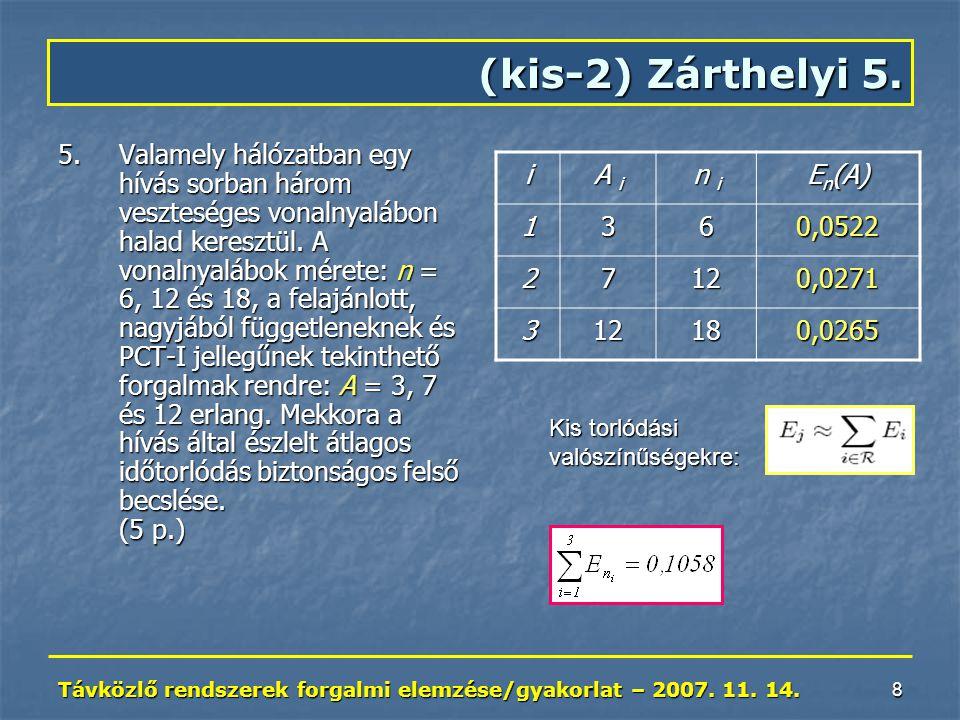 Távközlő rendszerek forgalmi elemzése/gyakorlat – 2007. 11. 14. 8 (kis-2) Zárthelyi 5. 5.Valamely hálózatban egy hívás sorban három veszteséges vonaln