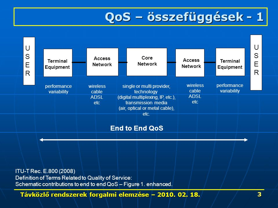 Távközlő rendszerek forgalmi elemzése – 2010. 02. 18. 44 Forgalommérés ITU-T Rec. E. 490 (1992.06)