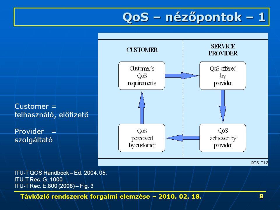 Távközlő rendszerek forgalmi elemzése – 2010. 02. 18. 39 Forgalom 3. - Fogalmak