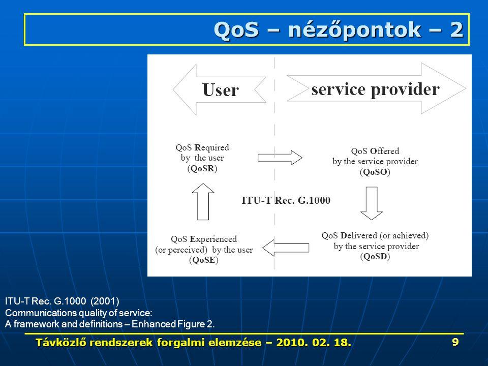 Távközlő rendszerek forgalmi elemzése – 2010. 02. 18. 50 Telefon forgalom jellemzői – 6.