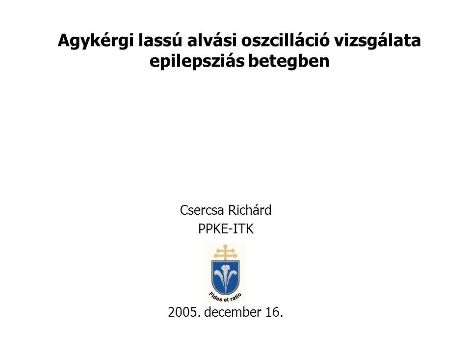 Agykérgi lassú alvási oszcilláció vizsgálata epilepsziás betegben Csercsa Richárd PPKE-ITK 2005. december 16.