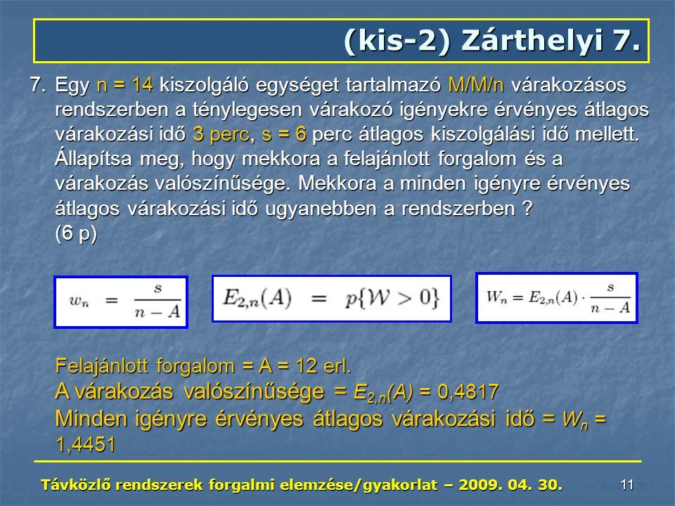 Távközlő rendszerek forgalmi elemzése/gyakorlat – 2009. 04. 30. 11 7.Egy n = 14 kiszolgáló egységet tartalmazó M/M/n várakozásos rendszerben a tényleg