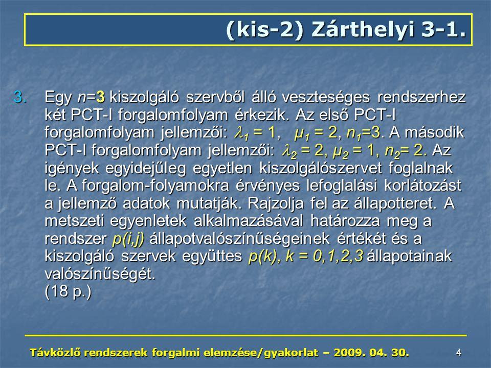 Távközlő rendszerek forgalmi elemzése/gyakorlat – 2009. 04. 30. 4 (kis-2) Zárthelyi 3-1. 3.Egy n=3 kiszolgáló szervből álló veszteséges rendszerhez ké