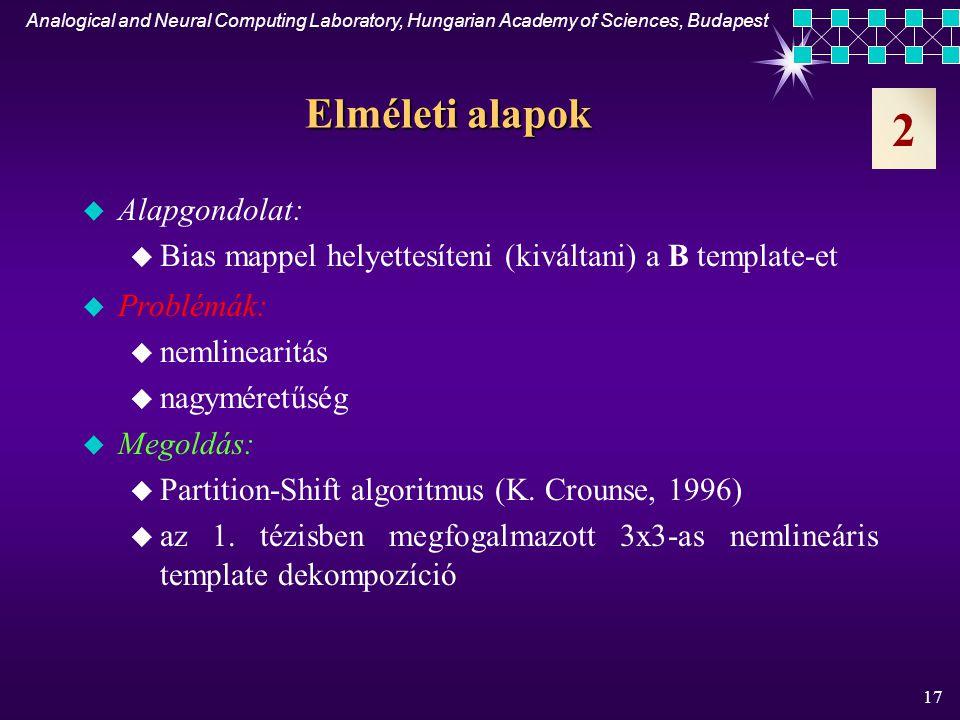 Analogical and Neural Computing Laboratory, Hungarian Academy of Sciences, Budapest 16 u Eljárást adtam nagyméretű nemlineáris template-ek egy osztályának (NxN-es lineáris A (a ij =0, ahol r>1) és nemlineáris - szakaszonként lineáris - B) 3x3-as lineáris template-ekkel való helyettesítésére u Az algoritmus korlátai: analóg be- és kimenet, fixed state, bias map u Megmutattam, hogy DTCNN esetében a módszer olyan template- ekre is alkalmazható, amely nagyméretű lineáris vagy nemlineáris A template-et tartalmaz u Kísérletileg igazoltam egy 5x5-ös lineáris template olyan CNN-UM chipen (cP400) való implementálhatóságát, amely csak bináris be- és kimenettel rendelkezik, nincs fixed state-je sem bias map-je 2.