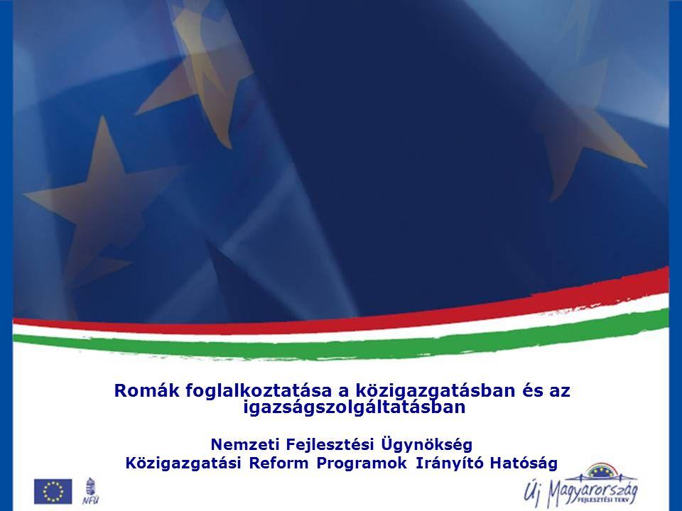 Célok Romák a társadalmi súlyuknak megfelelő mértékben vegyenek részt a közügyek intézésében 200 roma származású személy közigazgatáson belüli foglalkoztatása A program nem esélyegyenlőségi referensek toborzását célozza, hanem a közigazgatás bármely érdemi területén a romák szerepvállalásának a növelését