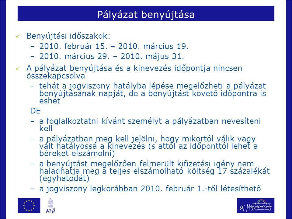 Pályázat benyújtása Benyújtási időszakok: –2010. február 15.