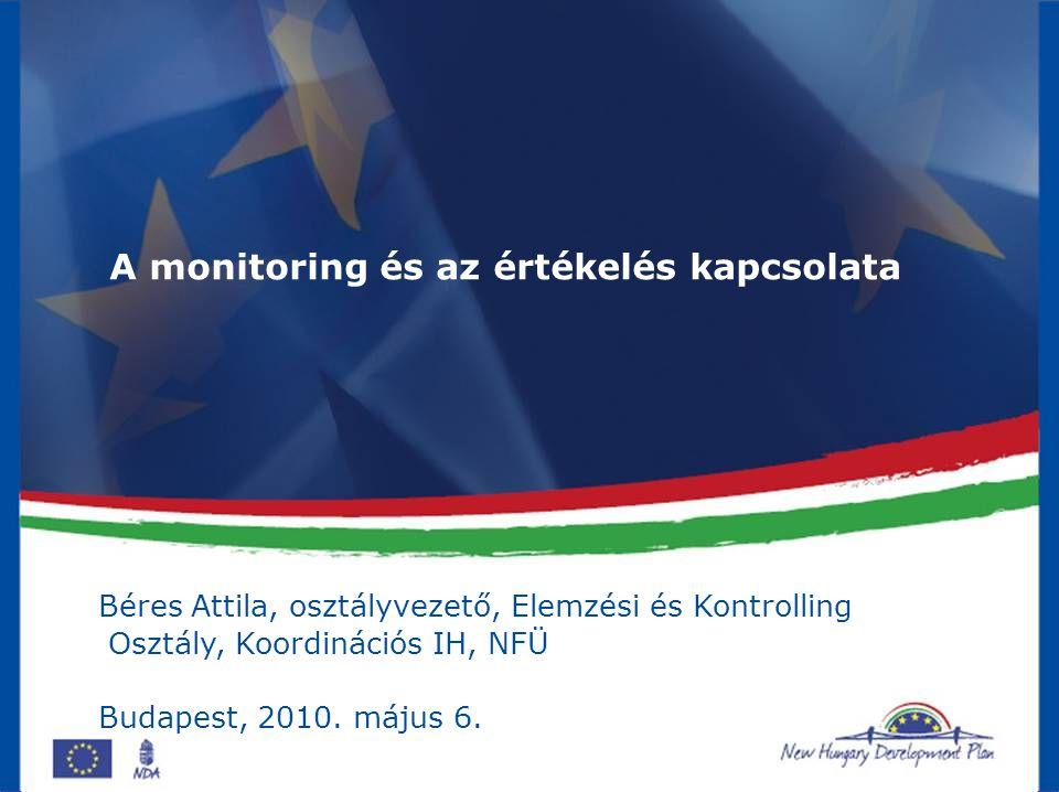 2 Teljesítmény alapú programmenedzsment Monitoring Az előzetes terveknek megfelelően halad –e a programvégrehajtás.