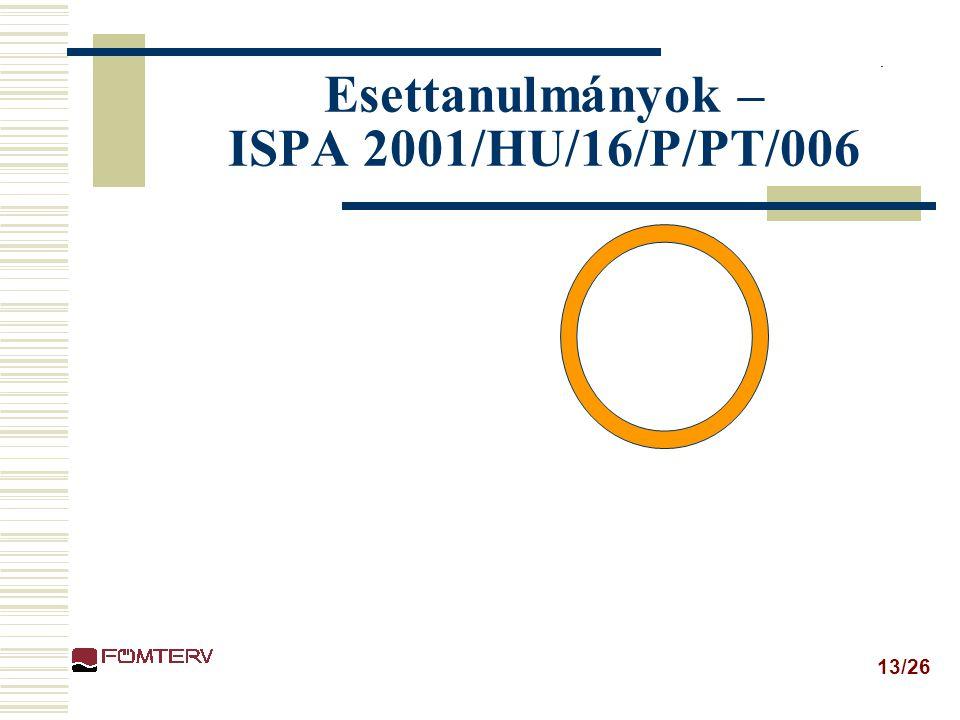 13/26 Esettanulmányok – ISPA 2001/HU/16/P/PT/006