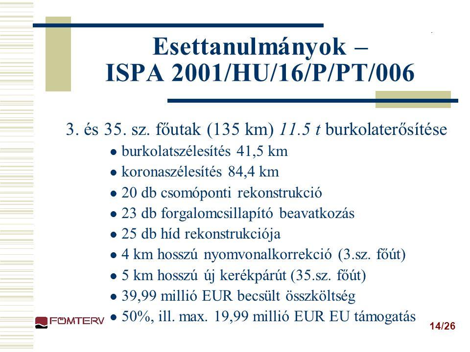 14/26 Esettanulmányok – ISPA 2001/HU/16/P/PT/006 3.