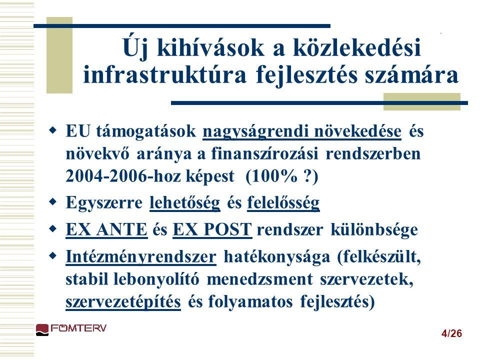 4/26 Új kihívások a közlekedési infrastruktúra fejlesztés számára  EU támogatások nagyságrendi növekedése és növekvő aránya a finanszírozási rendszerben 2004-2006-hoz képest (100% ?)  Egyszerre lehetőség és felelősség  EX ANTE és EX POST rendszer különbsége  Intézményrendszer hatékonysága (felkészült, stabil lebonyolító menedzsment szervezetek, szervezetépítés és folyamatos fejlesztés)