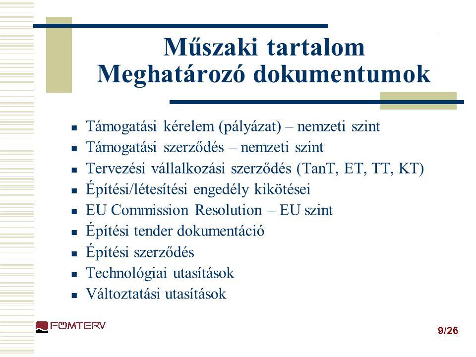 9/26 Műszaki tartalom Meghatározó dokumentumok Támogatási kérelem (pályázat) – nemzeti szint Támogatási szerződés – nemzeti szint Tervezési vállalkozási szerződés (TanT, ET, TT, KT) Építési/létesítési engedély kikötései EU Commission Resolution – EU szint Építési tender dokumentáció Építési szerződés Technológiai utasítások Változtatási utasítások