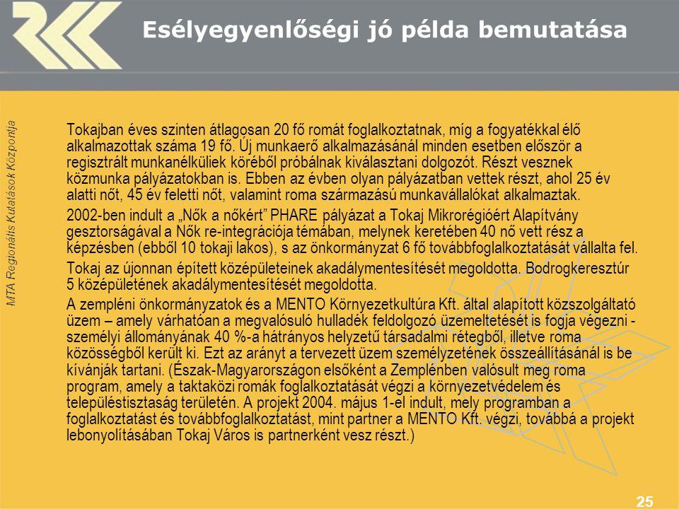 MTA Regionális Kutatások Központja 25 Esélyegyenlőségi jó példa bemutatása Tokajban éves szinten átlagosan 20 fő romát foglalkoztatnak, míg a fogyatékkal élő alkalmazottak száma 19 fő.
