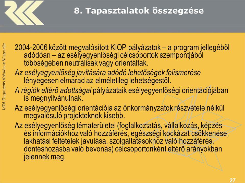 MTA Regionális Kutatások Központja 27 8. Tapasztalatok összegzése 2004-2006 között megvalósított KIOP pályázatok – a program jellegéből adódóan – az e